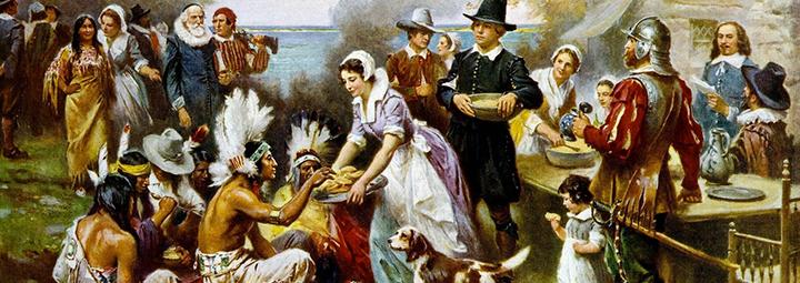 Acción de gracias - indigenas y colonos ingleses en thanksgiving day - cuadro