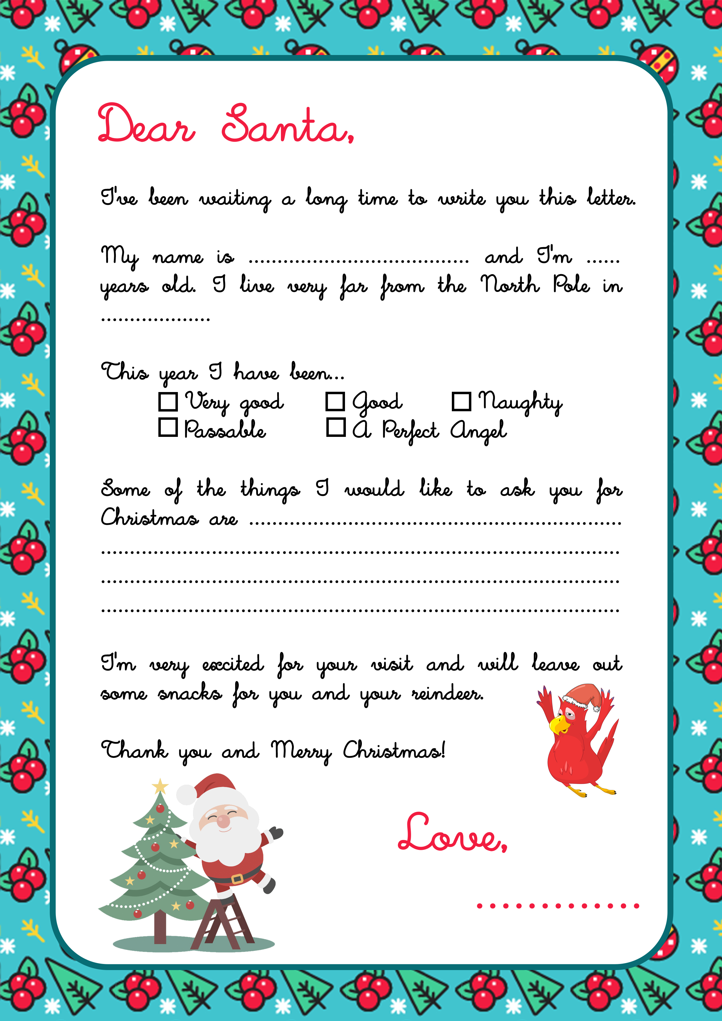 Plantilla Carta para Santa Claus Papa Noel en inglés - Letter for Santa